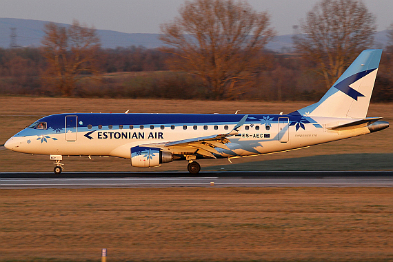 Embraer E-170 der Estonian AIr bei der Erstlandung in Wien - Foto: Austrian Wings Media Crew