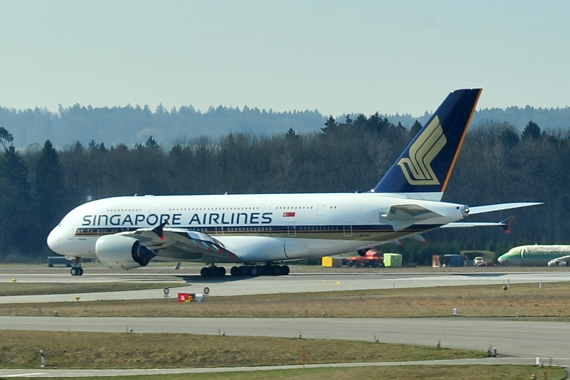 Ein Airbus A380 von Singapore Airlines in Zürich - Foto: Austrian Wings Media Crew