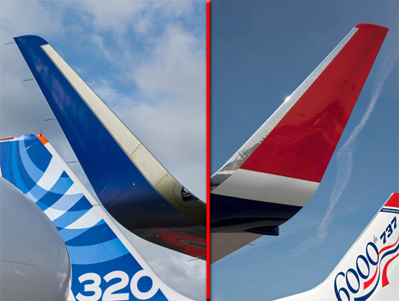 Links: Sharklet - rechts Blended Winglet (Fotos: Airbus u. Boeing - Montage: Austrian Wings)