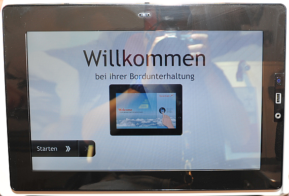 Der Touchscreen in den neuen Business Class Sitzen - Foto: Austrian Wings Media Crew