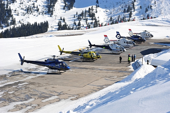 Line-up of six Eurocopter/Aérospatiale at the Heliport-Courchevel - Foto: Andy Herzog