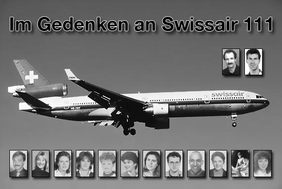 Die Unglücksmaschine und die Crew von SR 111 - Fotos: Andy Herzog, Archiv; Montage: Markus Dobrozemsky