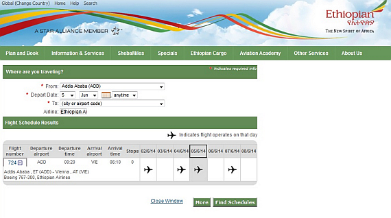 Screenshot von der Ethiopian Airlines Homepage