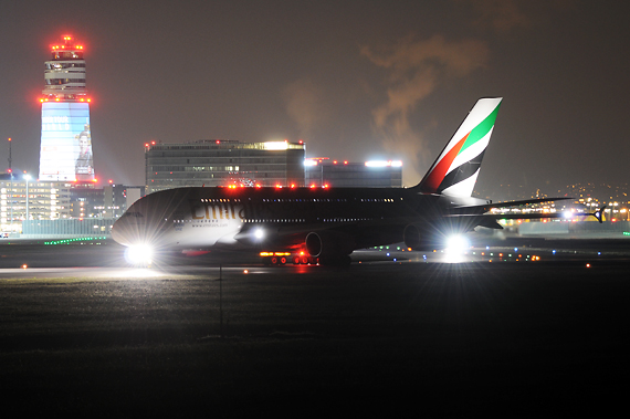 Emirates Airbus A380-800 A6-EES beim Start in Wien - Foto: Austrian Wings Media Crew