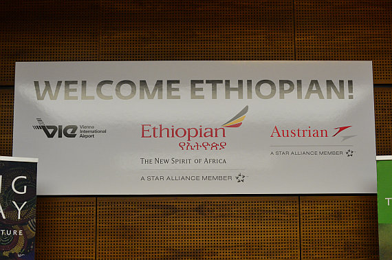Ethiopian Airlines Erstlandung Welcome Schild Foto PA Austrian Wings Media Crew