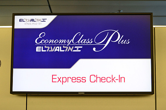 El Al Israel Airlines Express Check-In Anzeigetafel Foto PA Austrian Wings Media Crew