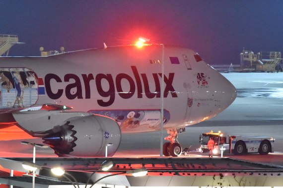 DSC_0499 First Landing Cargolux Boeing 747-8F LX-VCM special 45yrs clrs at VIE on 17102015 Credit Patrick Huber Austrian Wings