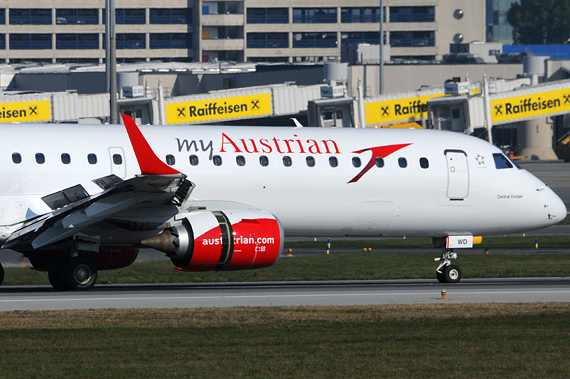 myAustrian Austrian Airlines Embraer 195 closeup OE-LWD Foto Austrian Wings Media Crew