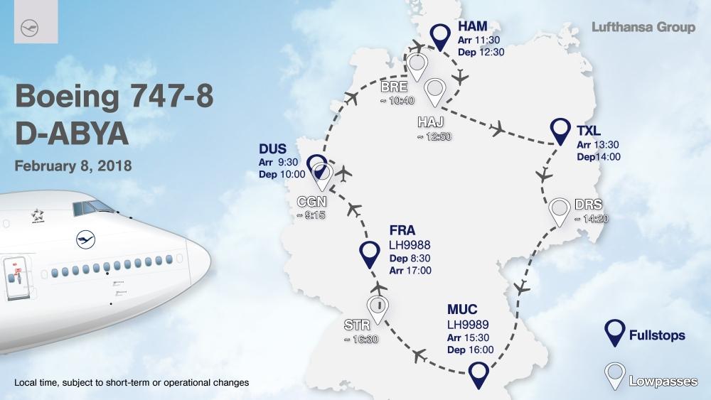 Jumbo und A321 zu Gast auf zehn deutschen Flughäfen sowie in Mailand und Paris