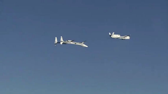 Drohnen - Annäherung während des Fluges