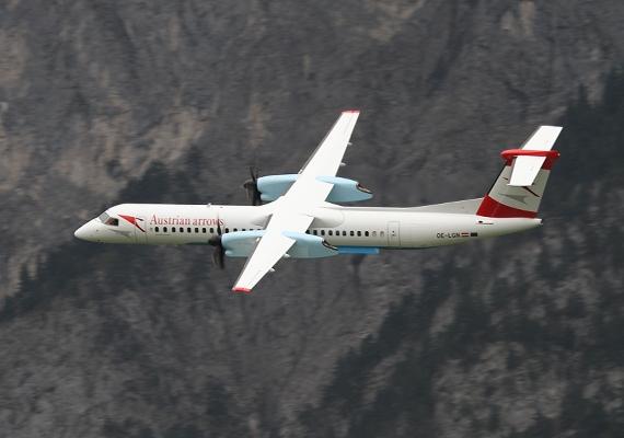 """Austrian setzt bei ihren Flügen nach Altenrhein auf die Dash 8-400; diese sei nach Altenrhein """"wirtschaftlicher als jeder Jet zu betreiben"""" - Foto: Simon Mathoi"""