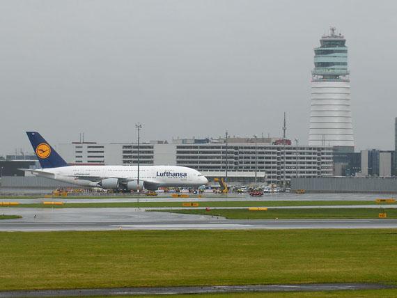 Im August wahrscheinlich wieder in Wien zu Besuch, hoffentlich bei besserem Wetter: A380 der Deutschen Lufthansa - Foto: Austrian Wings Media Crew