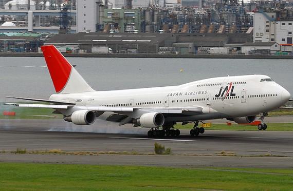 Weltweit setzten lediglich ANA und JAL (Bild) die 747 auf Kurzstrecken ein; hier eine solche 747-400D, zu erkennen an den fehlenden Winglets - Foto: Konstantin von Wedelstädt